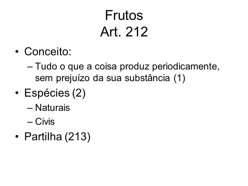 Frutos Art. 212 Conceito: Espécies (2) Partilha (213)