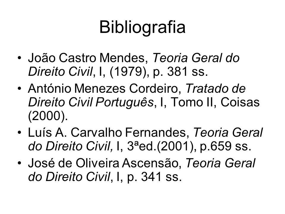 Bibliografia João Castro Mendes, Teoria Geral do Direito Civil, I, (1979), p. 381 ss.