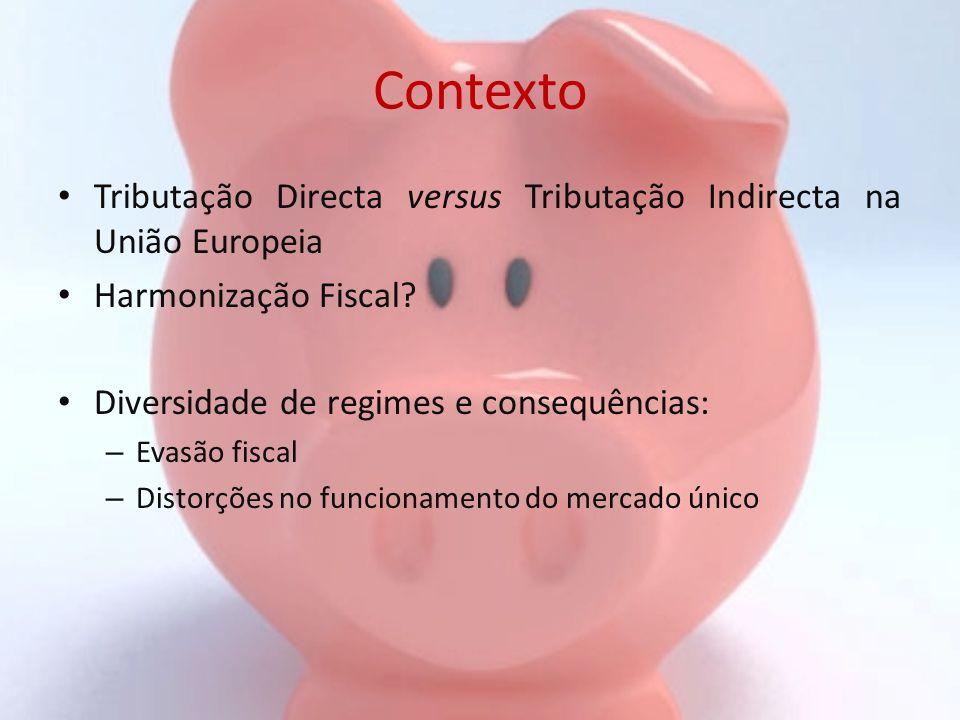 Contexto Tributação Directa versus Tributação Indirecta na União Europeia. Harmonização Fiscal Diversidade de regimes e consequências: