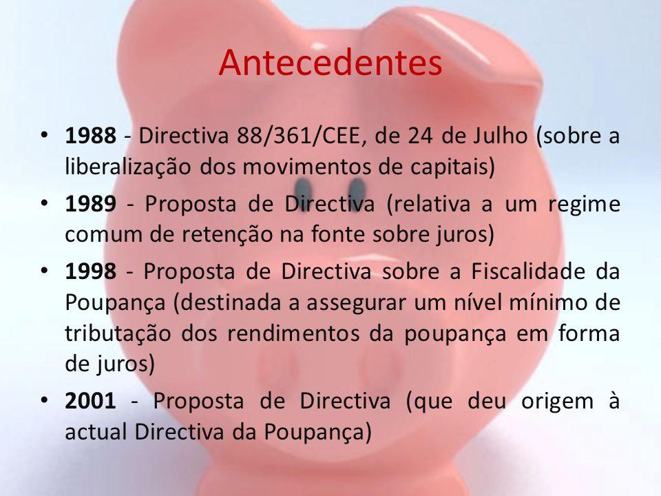 Antecedentes 1988 - Directiva 88/361/CEE, de 24 de Julho (sobre a liberalização dos movimentos de capitais)