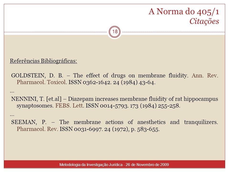 A Norma do 405/1 Citações Referências Bibliográficas: