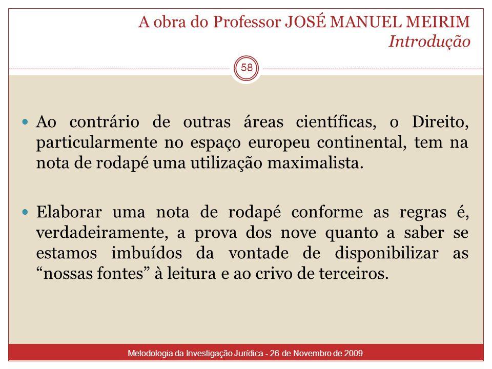 A obra do Professor JOSÉ MANUEL MEIRIM Introdução