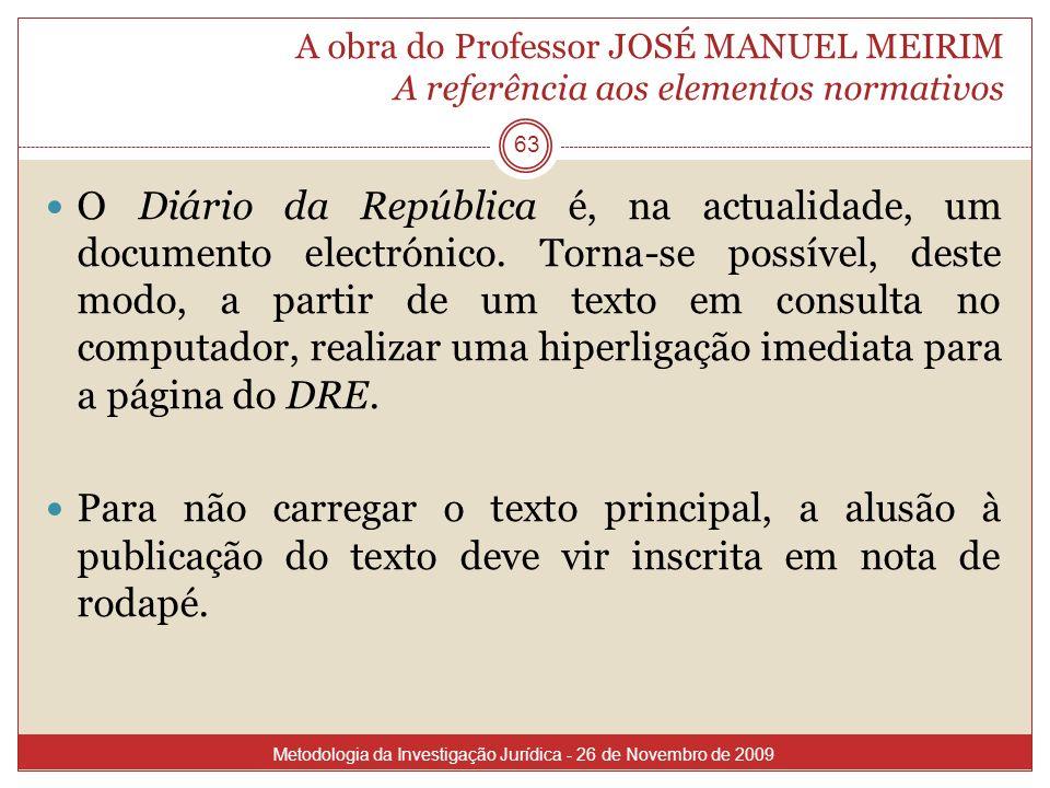 A obra do Professor JOSÉ MANUEL MEIRIM A referência aos elementos normativos
