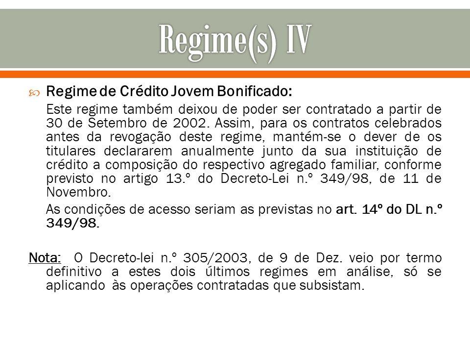 Regime(s) IV Regime de Crédito Jovem Bonificado: