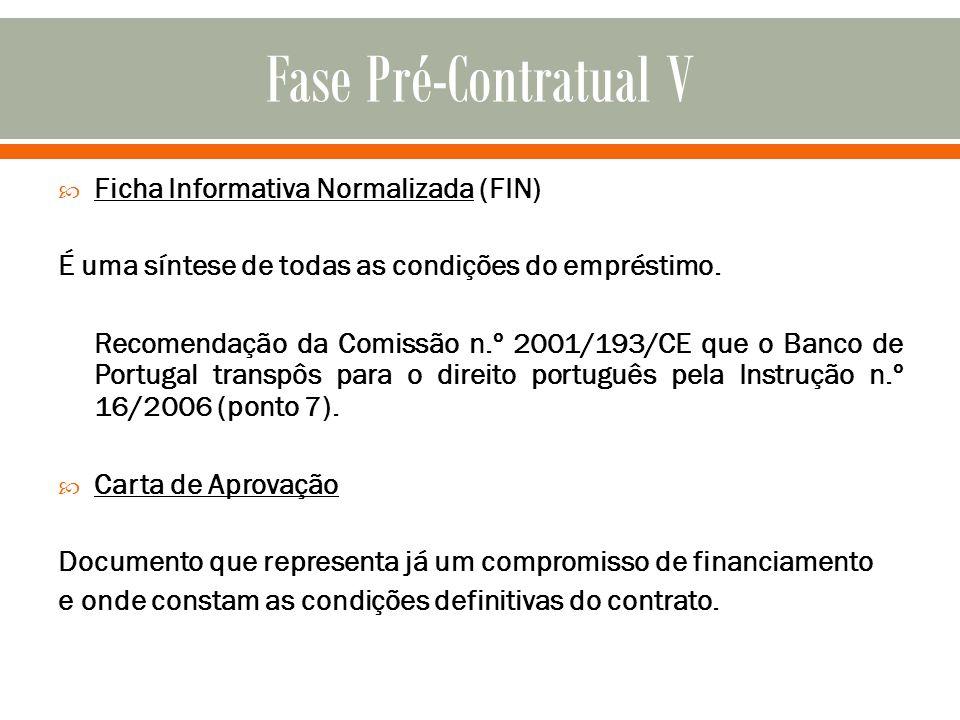 Fase Pré-Contratual V Ficha Informativa Normalizada (FIN)
