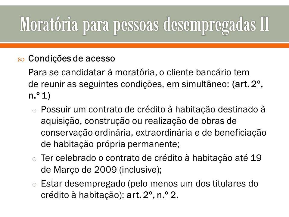 Moratória para pessoas desempregadas II