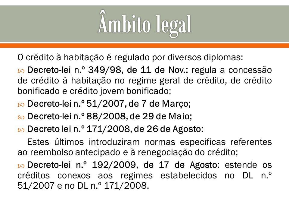 Âmbito legal O crédito à habitação é regulado por diversos diplomas: