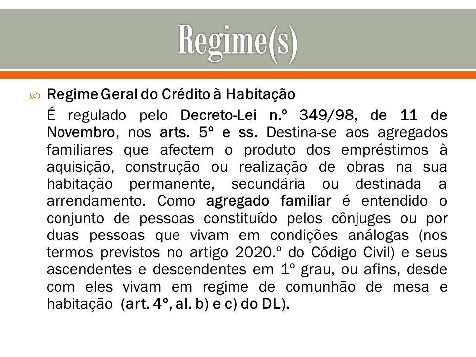 Regime(s) Regime Geral do Crédito à Habitação