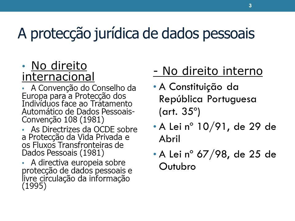 A protecção jurídica de dados pessoais