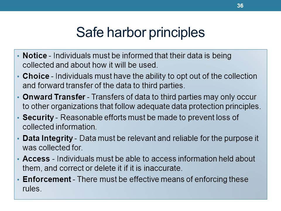 Safe harbor principles