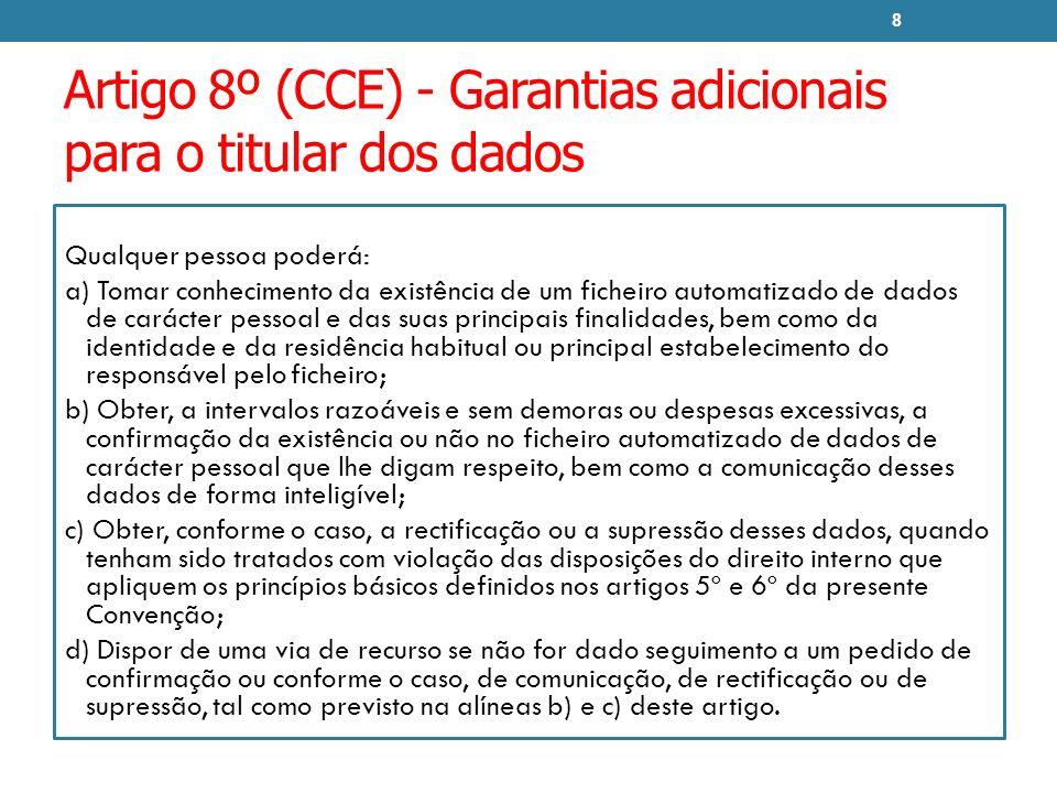 Artigo 8º (CCE) - Garantias adicionais para o titular dos dados