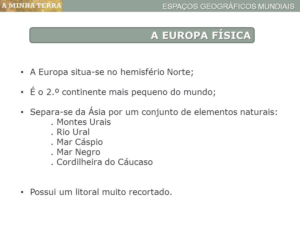 A EUROPA FÍSICA A Europa situa-se no hemisfério Norte;