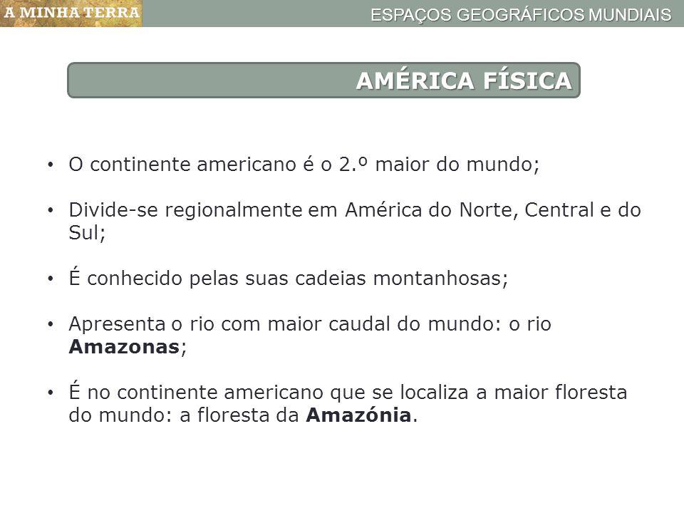AMÉRICA FÍSICA O continente americano é o 2.º maior do mundo;
