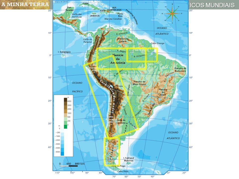 Mapa hipsométrico da América Central e do Sul