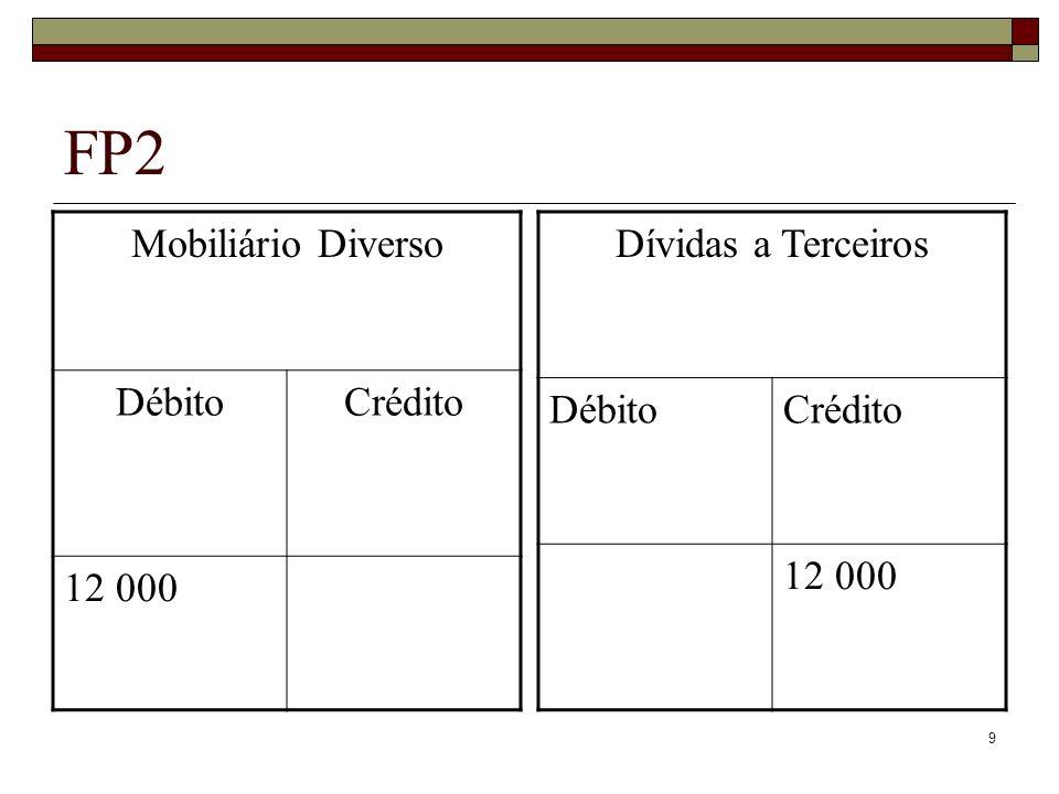 FP2 Mobiliário Diverso Débito Crédito 12 000 Dívidas a Terceiros