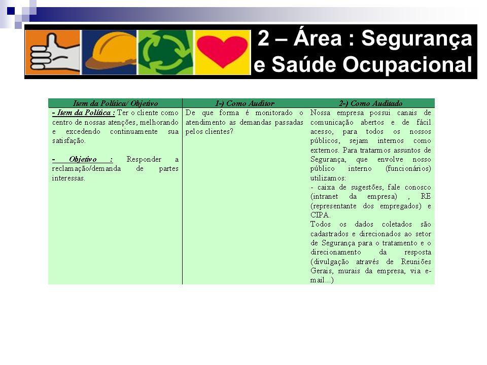 2 – Área : Segurança e Saúde Ocupacional