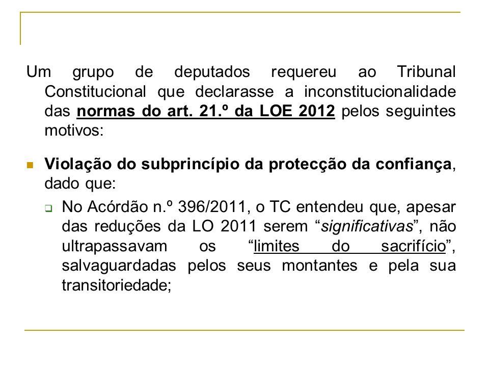 Um grupo de deputados requereu ao Tribunal Constitucional que declarasse a inconstitucionalidade das normas do art. 21.º da LOE 2012 pelos seguintes motivos: