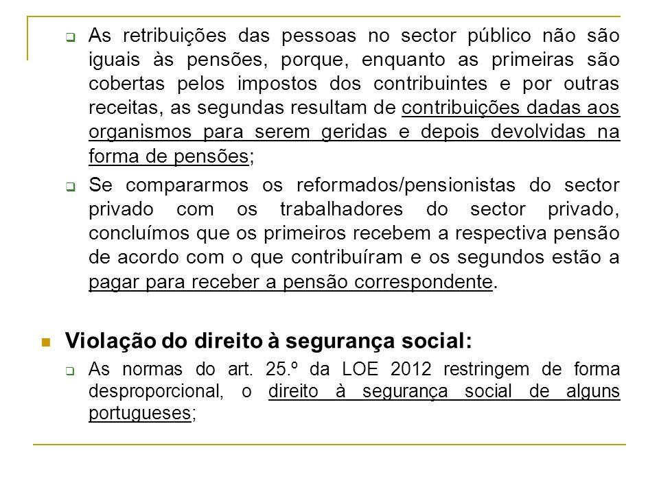 Violação do direito à segurança social: