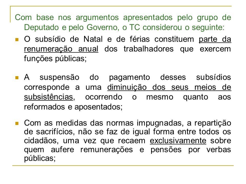 Com base nos argumentos apresentados pelo grupo de Deputado e pelo Governo, o TC considerou o seguinte: