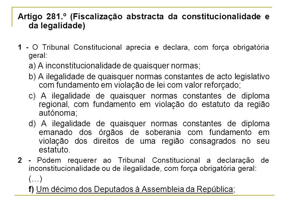 Artigo 281.º (Fiscalização abstracta da constitucionalidade e da legalidade)