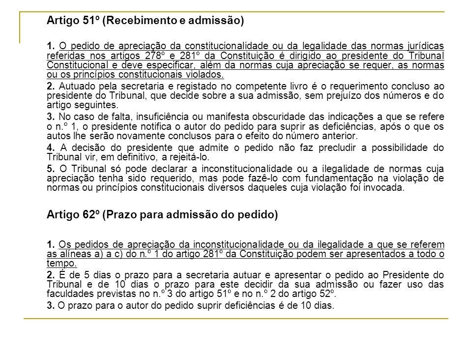 Artigo 62º (Prazo para admissão do pedido)