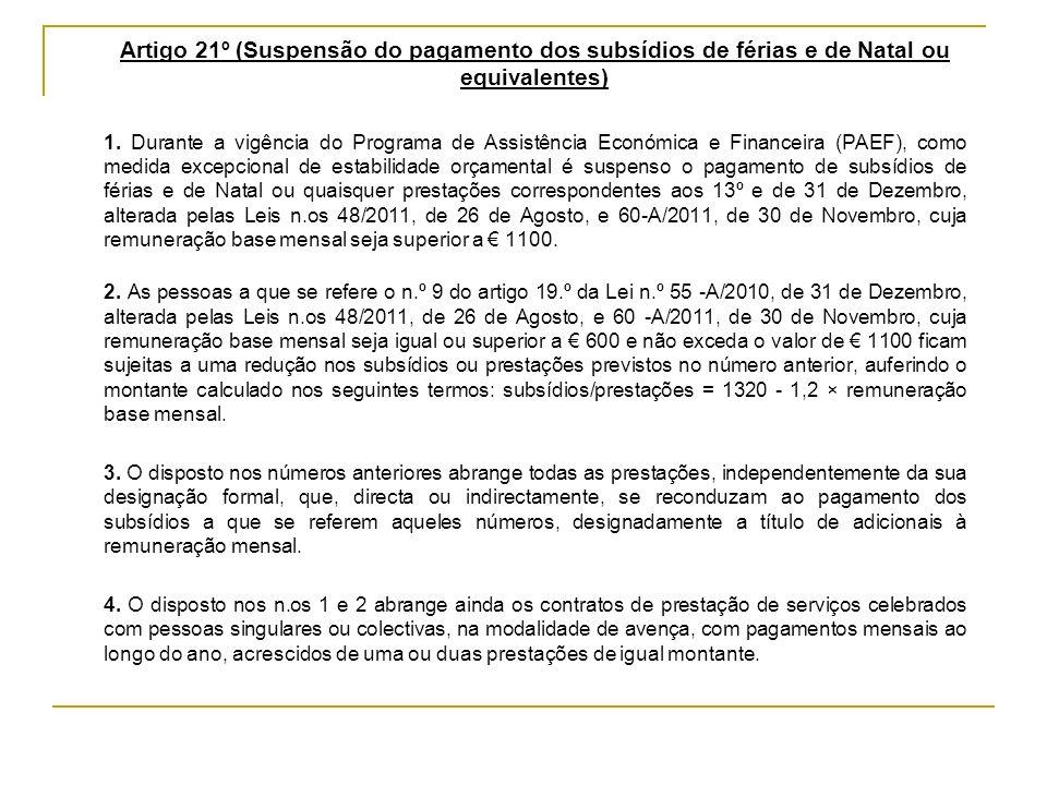 Artigo 21º (Suspensão do pagamento dos subsídios de férias e de Natal ou equivalentes)
