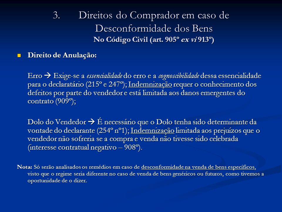Direitos do Comprador em caso de Desconformidade dos Bens No Código Civil (art. 905º ex vi 913º)