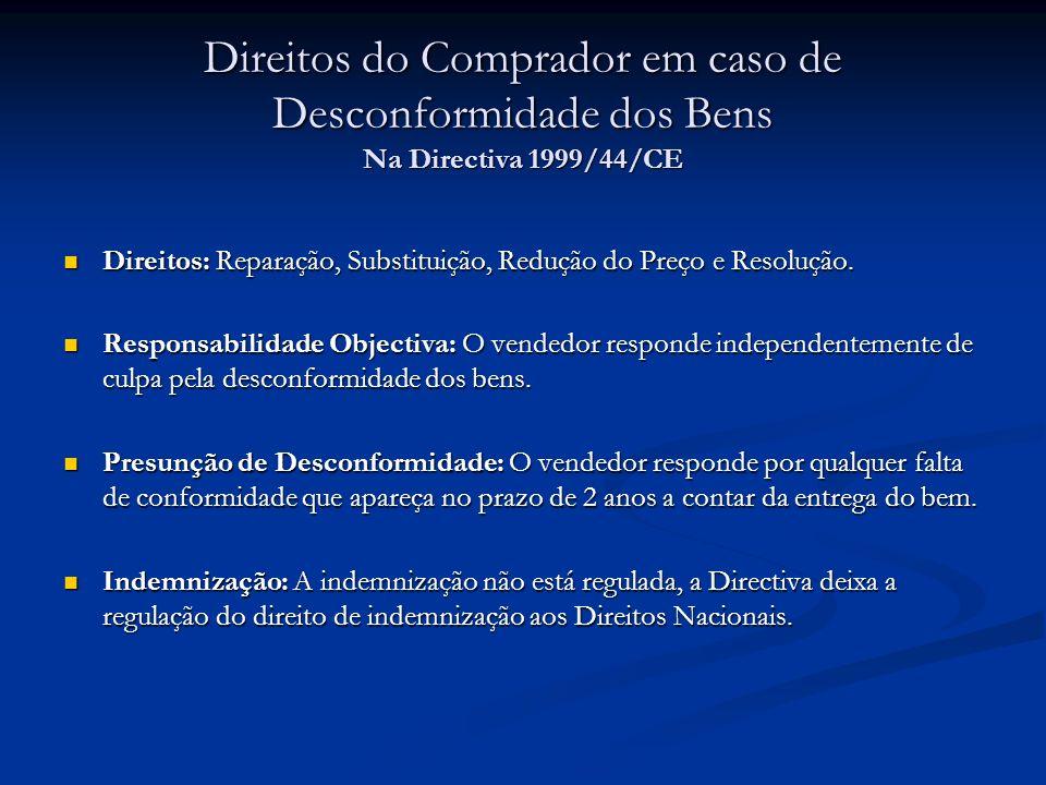 Direitos do Comprador em caso de Desconformidade dos Bens Na Directiva 1999/44/CE