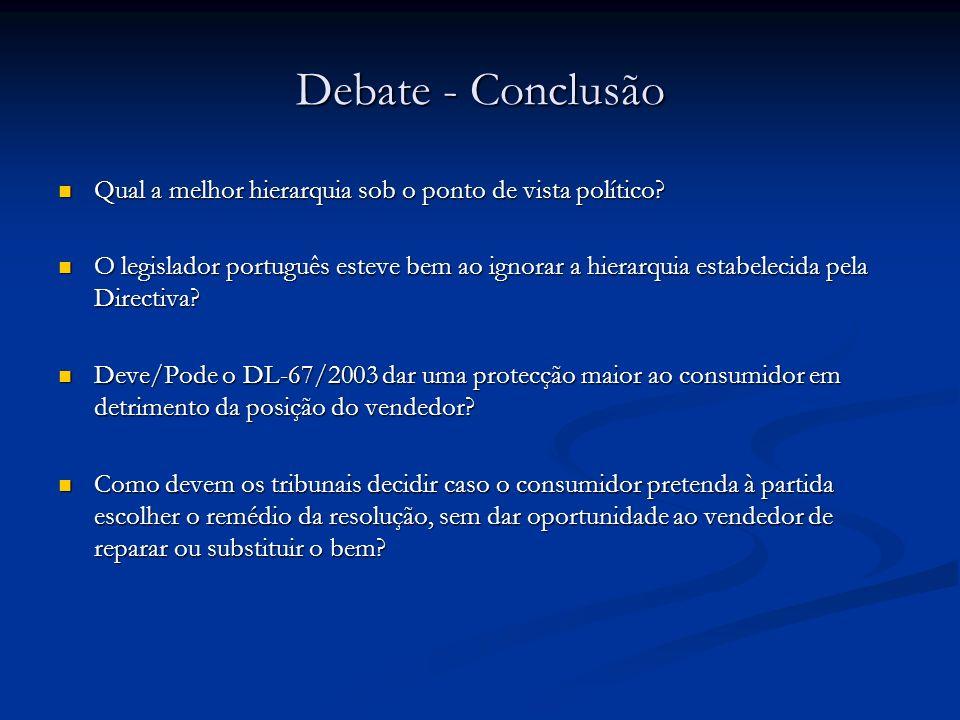 Debate - Conclusão Qual a melhor hierarquia sob o ponto de vista político