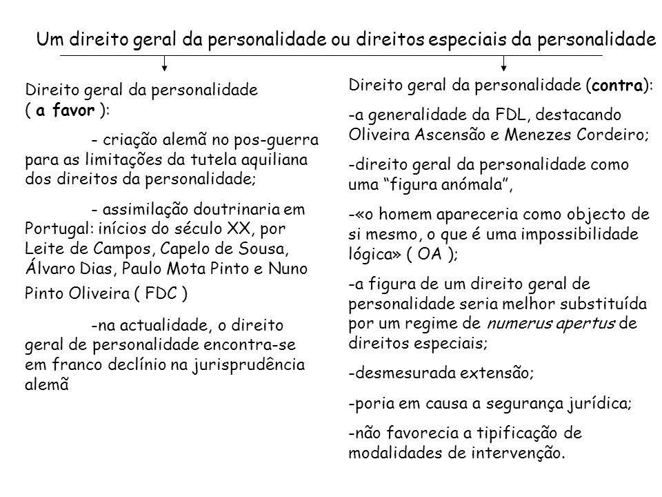 Um direito geral da personalidade ou direitos especiais da personalidade
