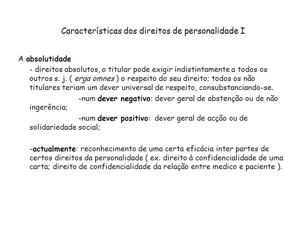 Características dos direitos de personalidade I