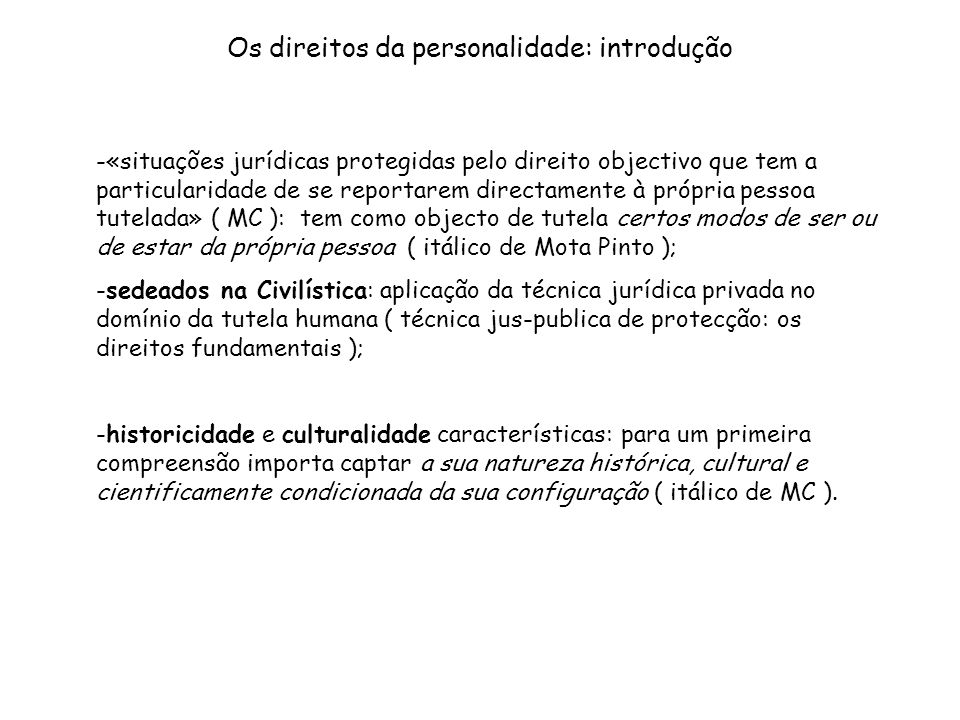 Os direitos da personalidade: introdução