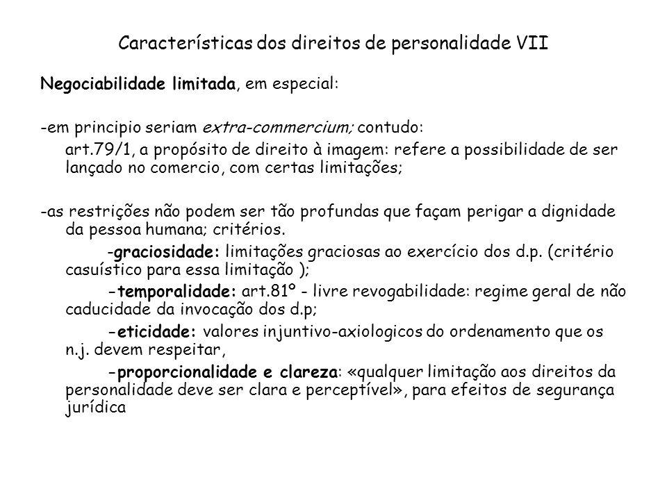 Características dos direitos de personalidade VII