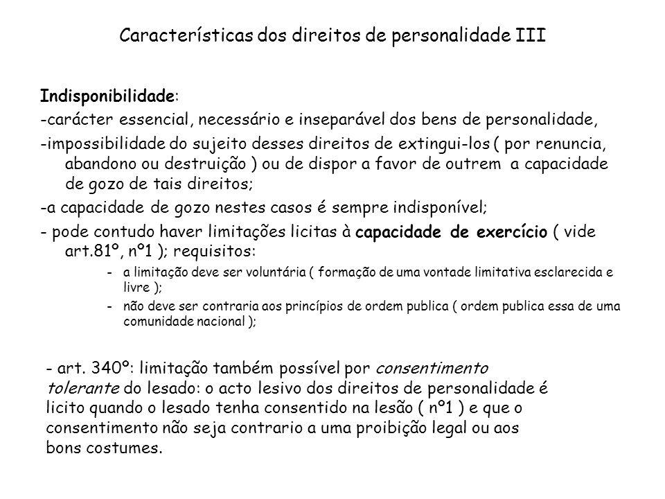Características dos direitos de personalidade III
