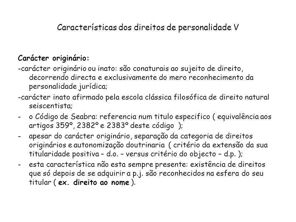Características dos direitos de personalidade V