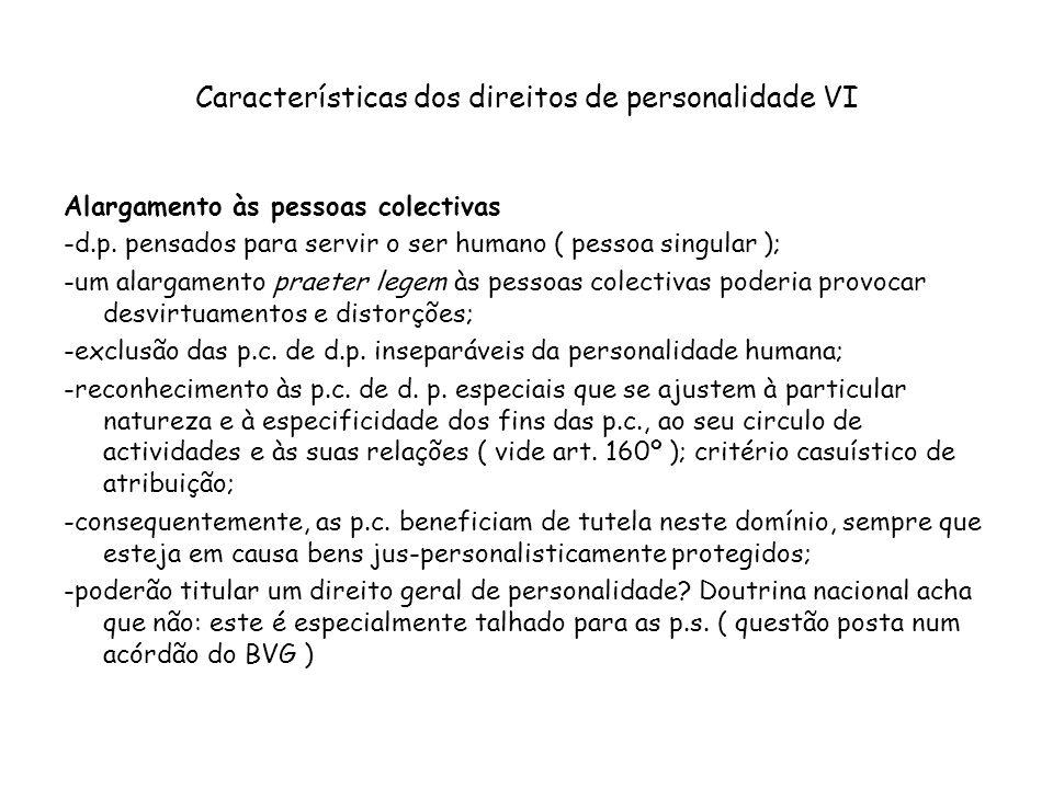 Características dos direitos de personalidade VI