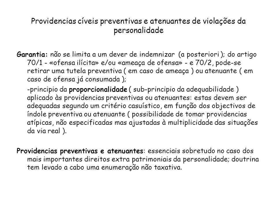 Providencias cíveis preventivas e atenuantes de violações da personalidade