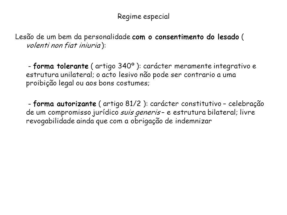 Regime especial Lesão de um bem da personalidade com o consentimento do lesado ( volenti non fiat iniuria ):