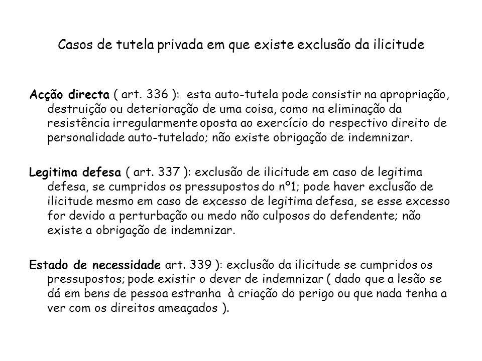 Casos de tutela privada em que existe exclusão da ilicitude