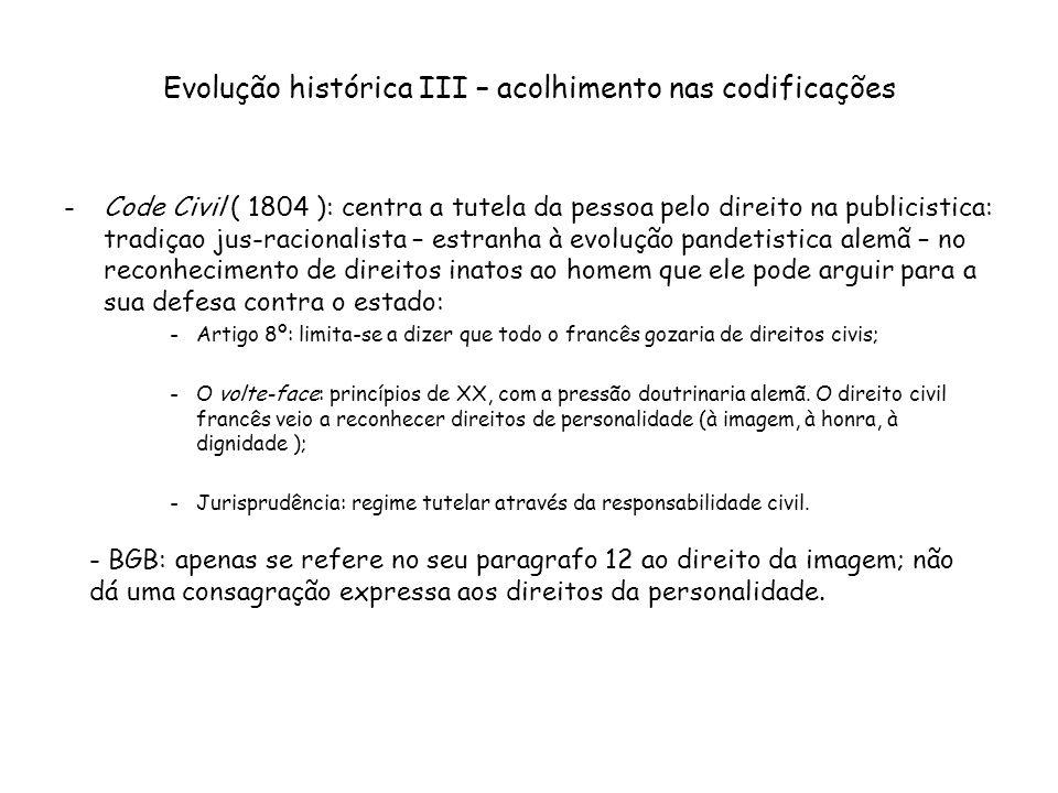Evolução histórica III – acolhimento nas codificações