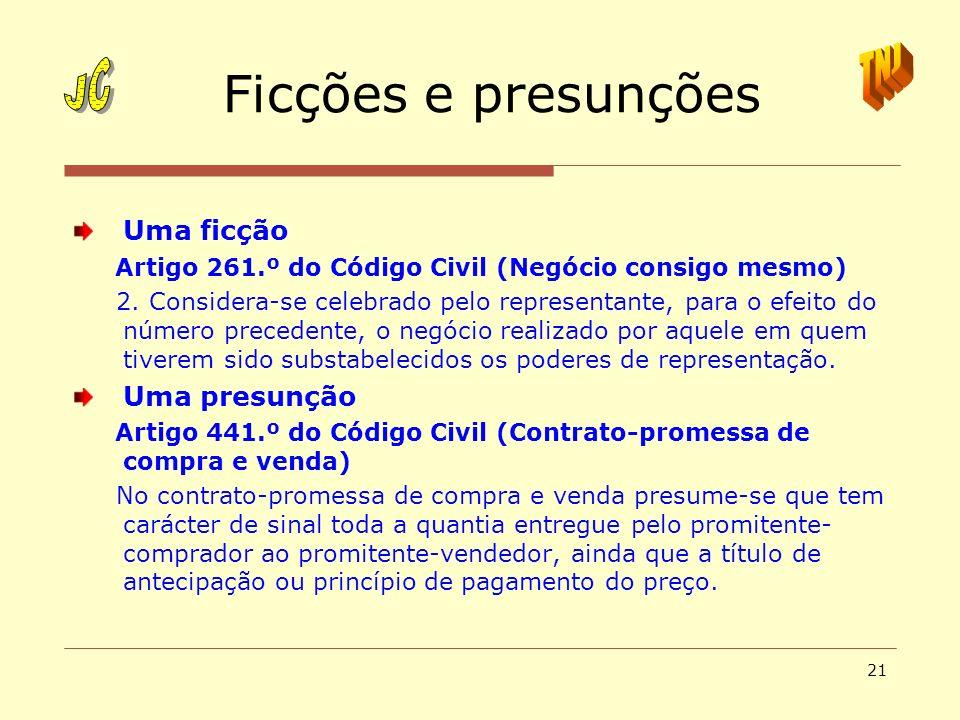Ficções e presunções JC TNJ Uma ficção Uma presunção