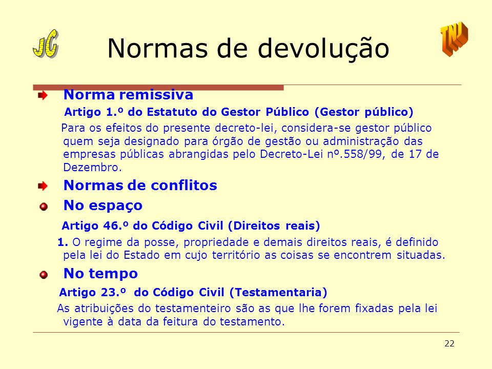 Normas de devolução JC TNJ Norma remissiva Normas de conflitos
