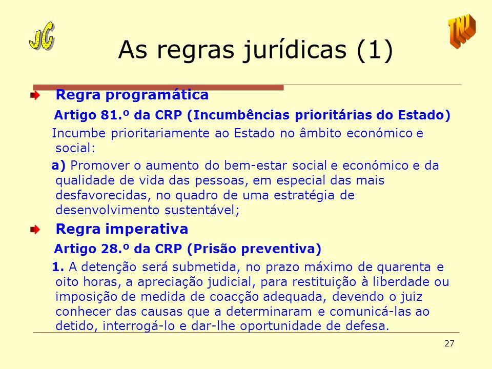As regras jurídicas (1) JC TNJ Regra programática