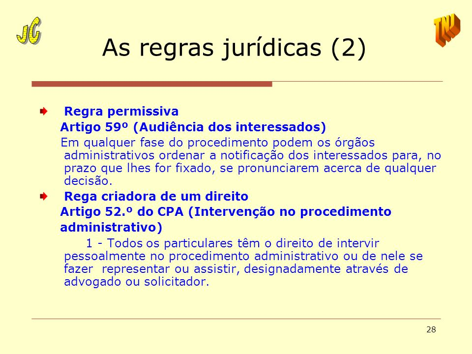 As regras jurídicas (2) JC TNJ Regra permissiva