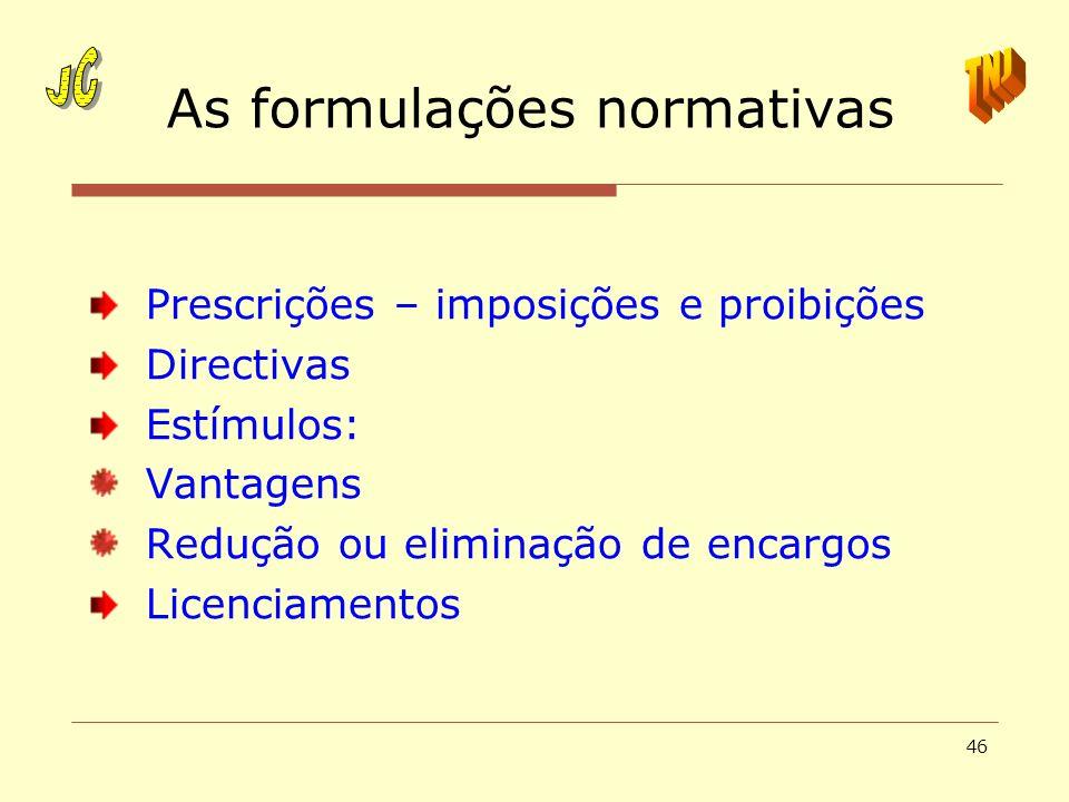 As formulações normativas