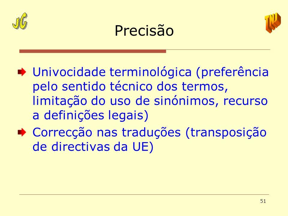 JCPrecisão. TNJ. Univocidade terminológica (preferência pelo sentido técnico dos termos, limitação do uso de sinónimos, recurso a definições legais)