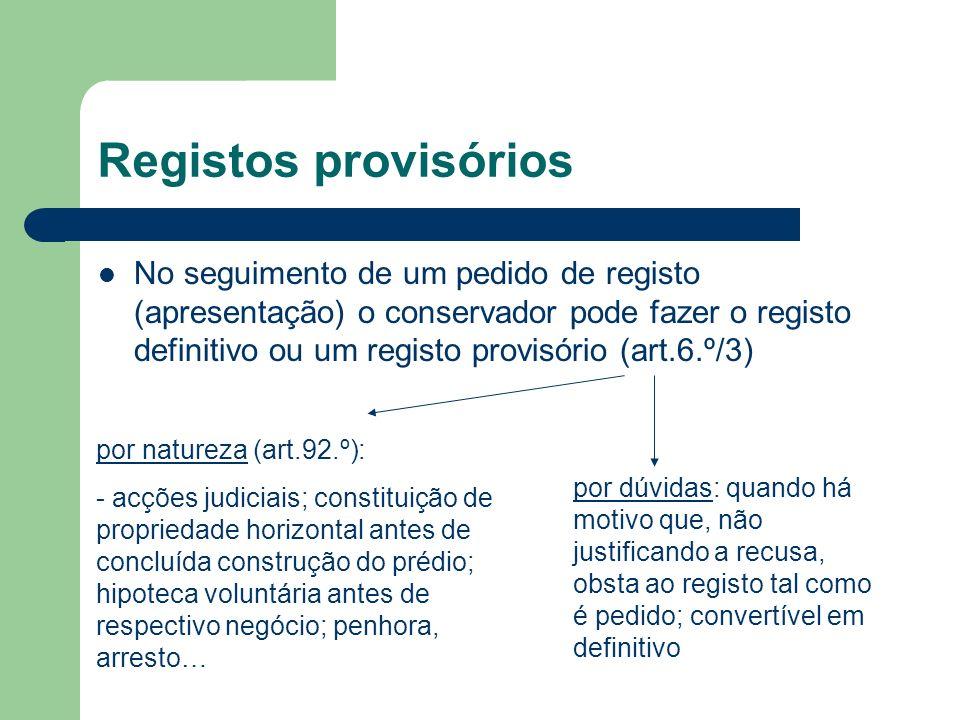 Registos provisórios