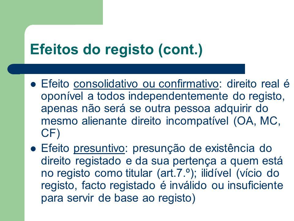 Efeitos do registo (cont.)