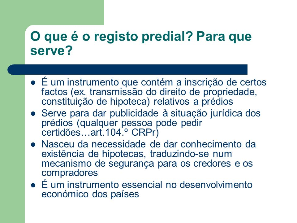 O que é o registo predial Para que serve