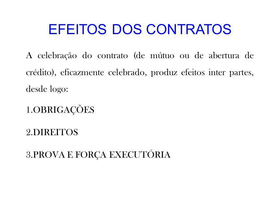 EFEITOS DOS CONTRATOS A celebração do contrato (de mútuo ou de abertura de crédito), eficazmente celebrado, produz efeitos inter partes, desde logo: